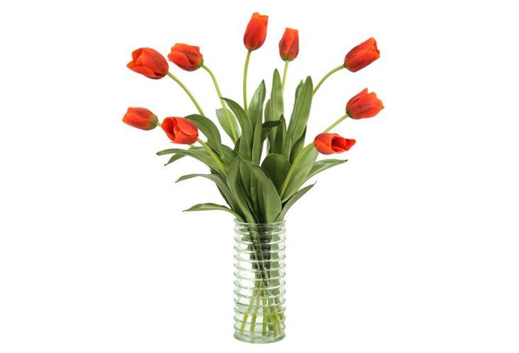 """28"""" Tulips in Vase, Faux"""