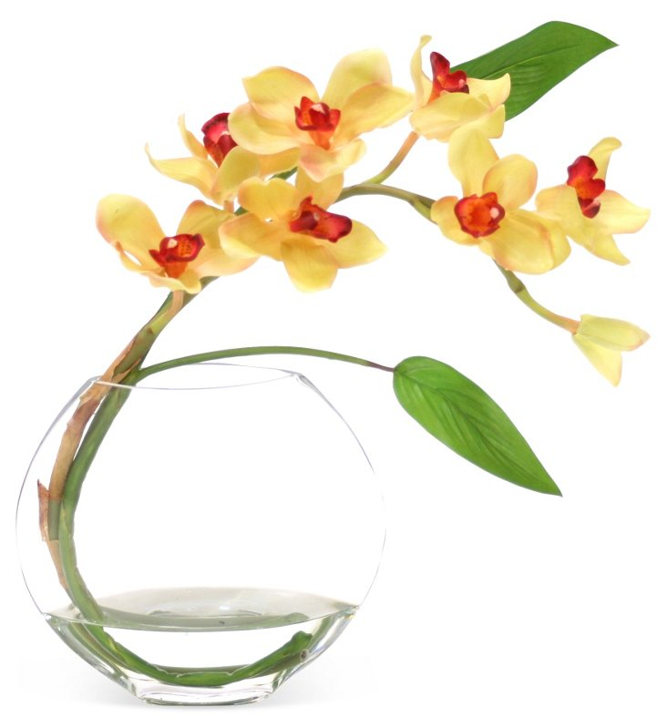 """21"""" Orchid & Leaves in Vase, Faux"""