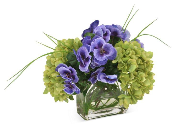 """11"""" Hydrangeas & Pansies in Vase, Faux"""