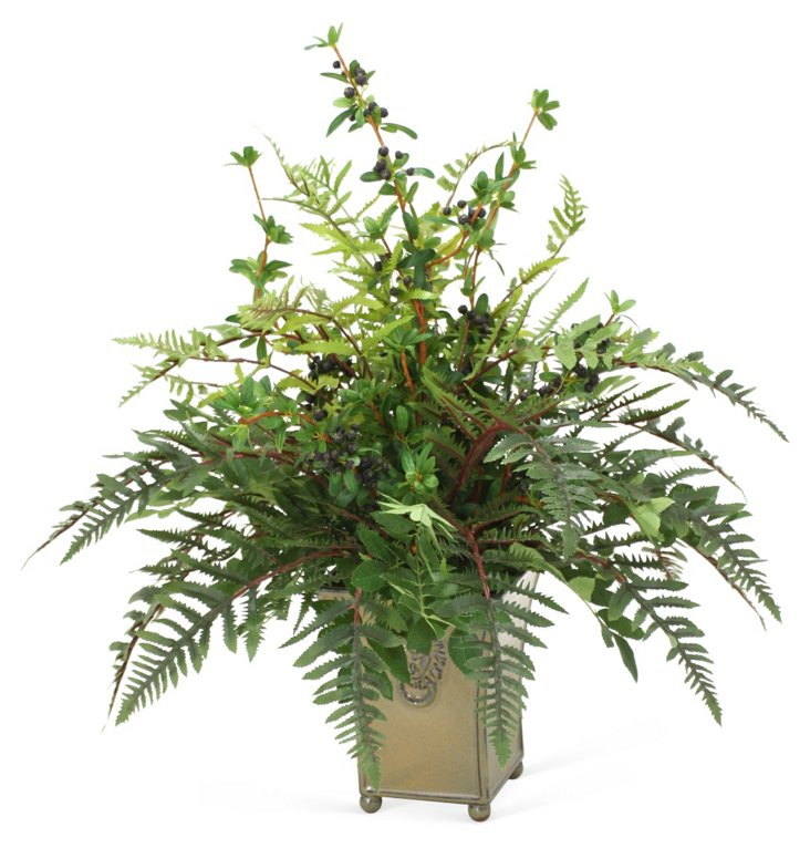 """26"""" Firethorn Berries in Planter, Faux"""