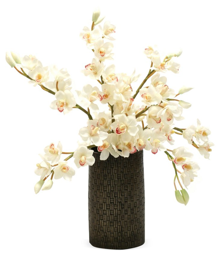 """32"""" Orchids in Vase, Faux"""