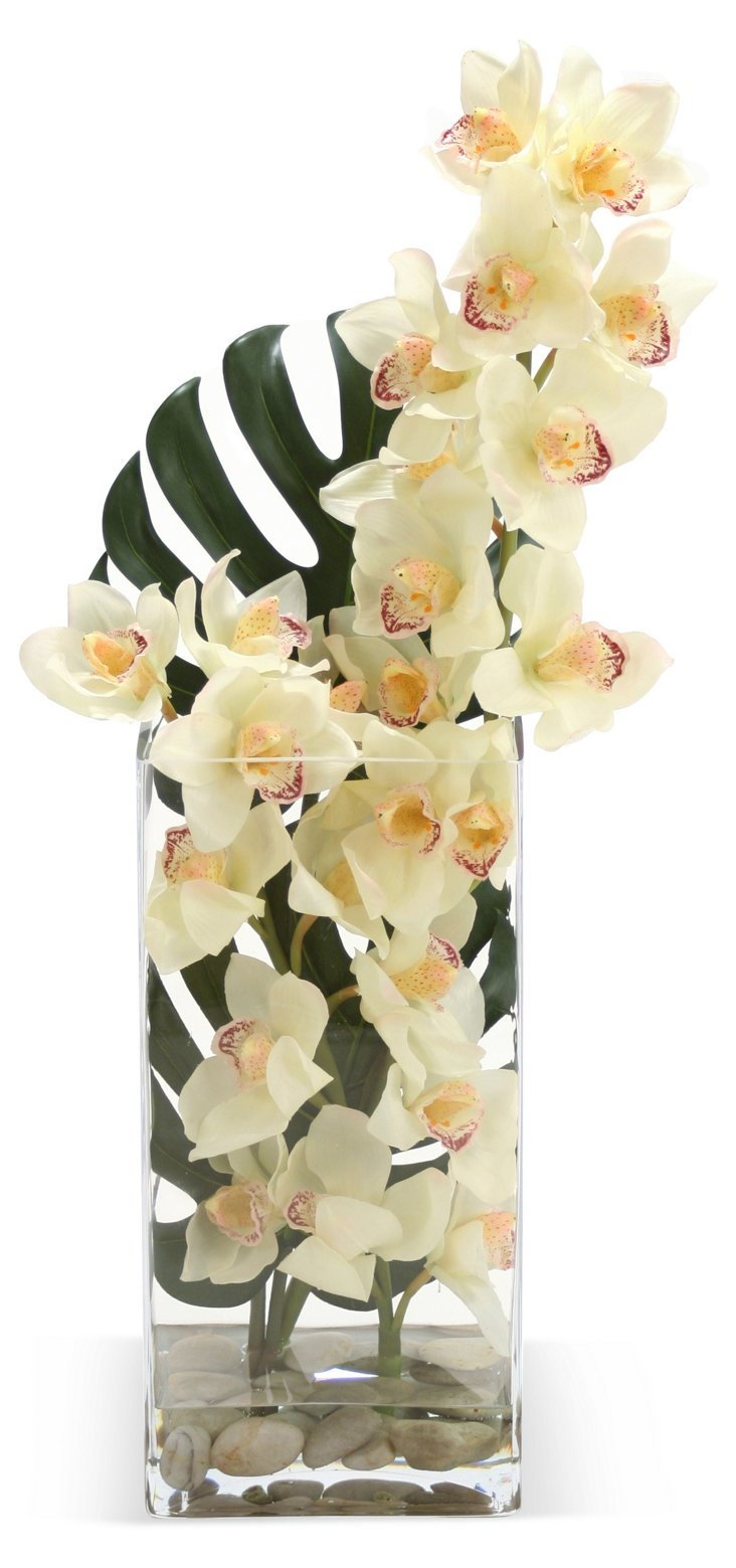 "30"" Cymbidium Orchid, Faux"