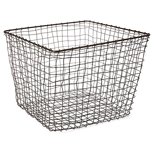 "14"" Bosworth Large Storage Basket, Gray"