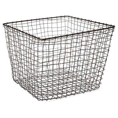 "14"" Bosworth Large Storage Basket, Gray"