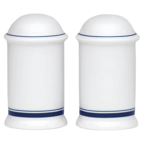 S/2 Bistro Christianshavn S&P Shakers, White/Blue