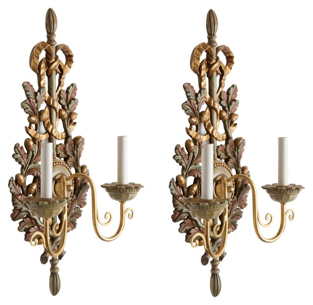 Hand-Painted Wall Sconces, Pair
