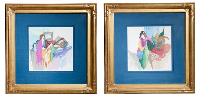 Framed Ladies Prints, Set of 2