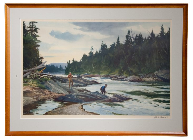 Framed Print, Fishing by the River