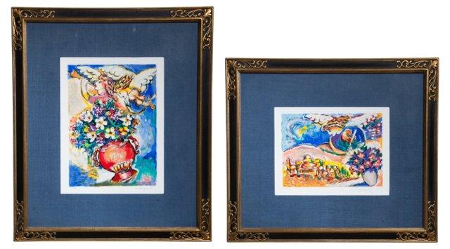 Framed Angel Prints, Set of 2