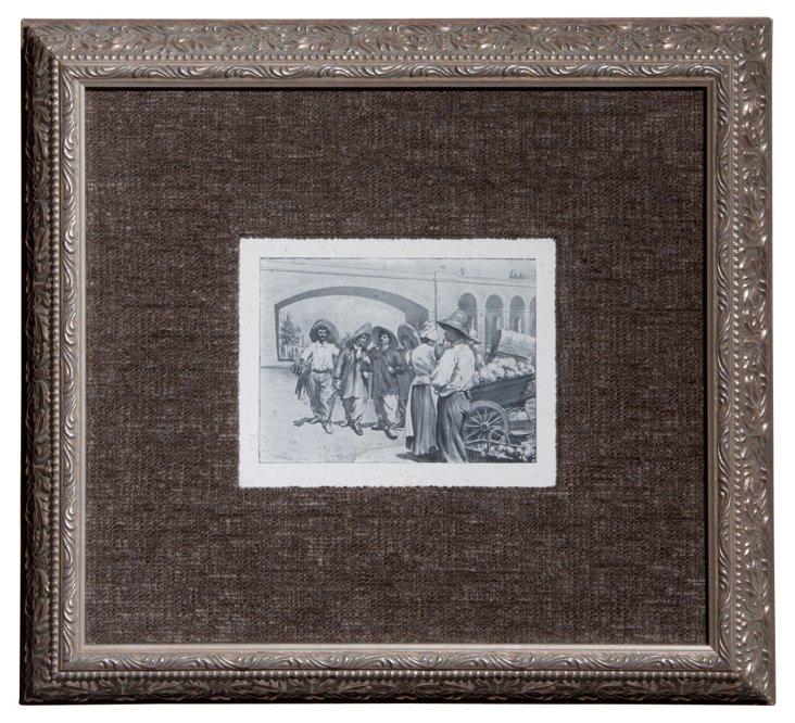 Framed Print of a Street Scene