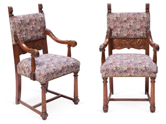 English Dining Chairs, Pair