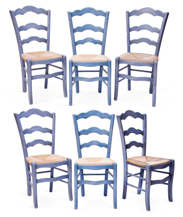 Blue Dining Chairs, Set of 6