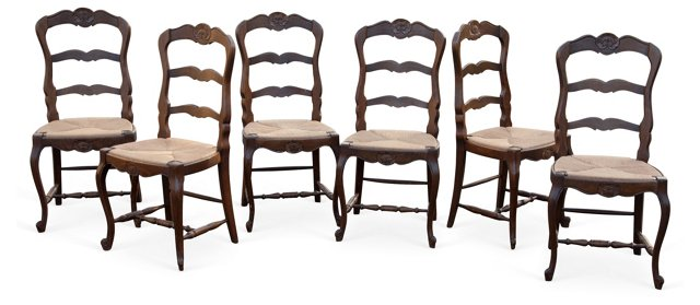 Carved Shell-Motif Chairs, Set of 6