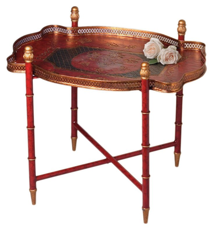 Kase Tray Table, Red/Black/Gold