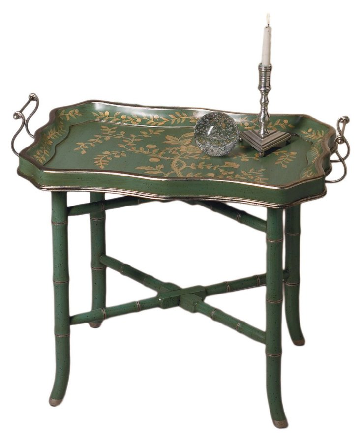 Floral Tray Table, Green/Gold