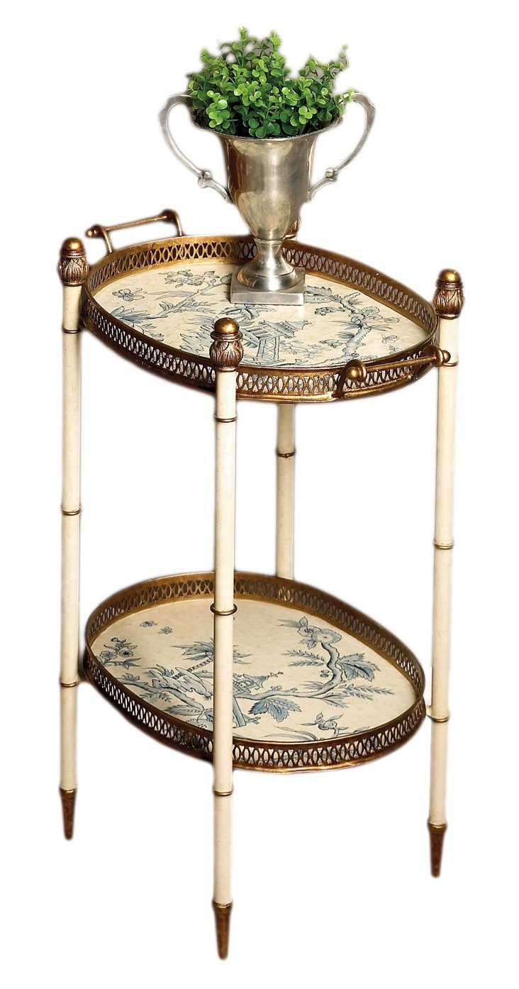 Dale Two-Tier Tray Table, Cream/Gold