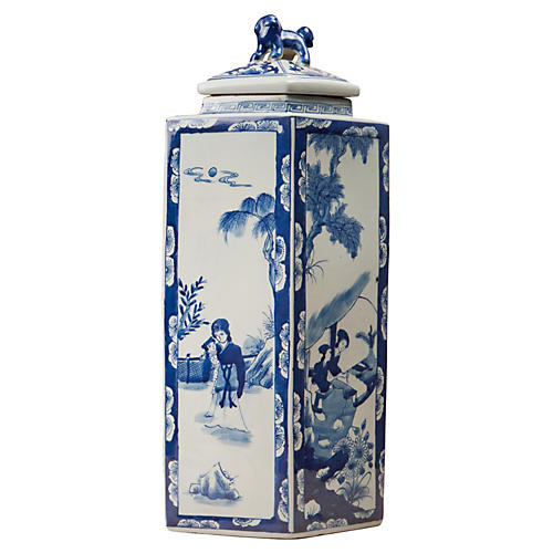 "21"" Chinoiserie Lidded Jar, Blue/White"