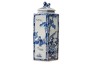 "21"" Chinoiserie Lidded Jar, Blue/White*"