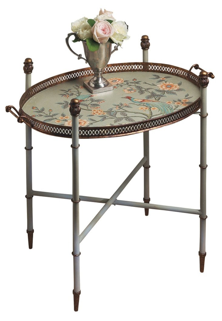 Flora Tray Table, Seafoam/Multi