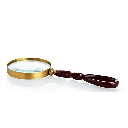 """13"""" Magnifying Glass, Walnut/Brass"""