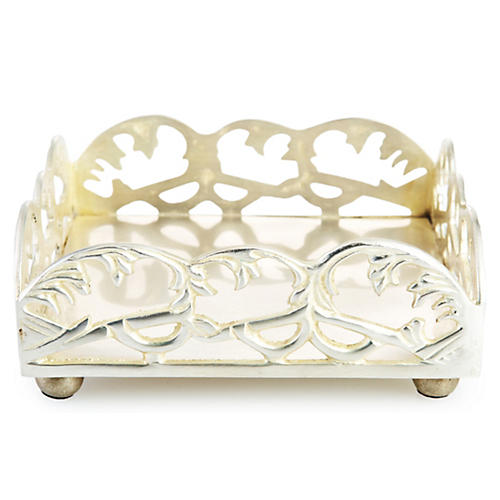 "6"" Ivy Cocktail Napkin Tray, Silver"