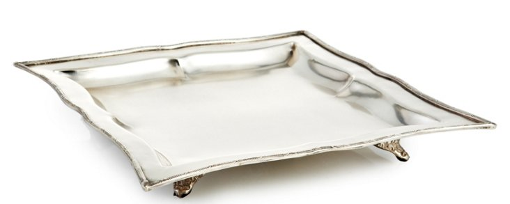 """11"""" Square Footed Tray, Silver"""