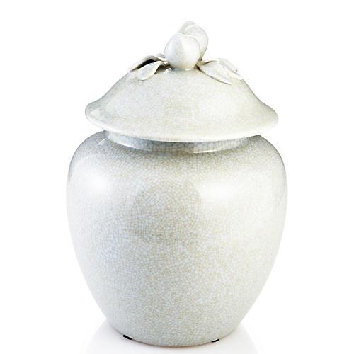 """13"""" Ginger Jar , White/Gold"""