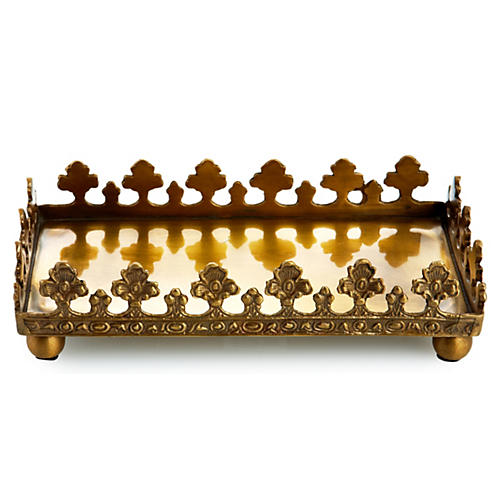 "8.5"" Rectangular Napkin Tray, Brass"