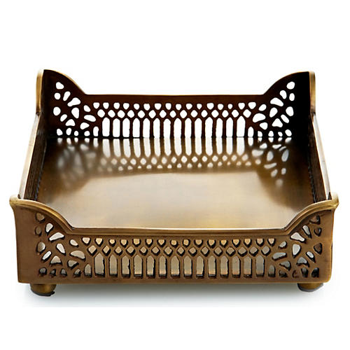 "6.5"" Pierced Lunch Napkin Tray, Brass"