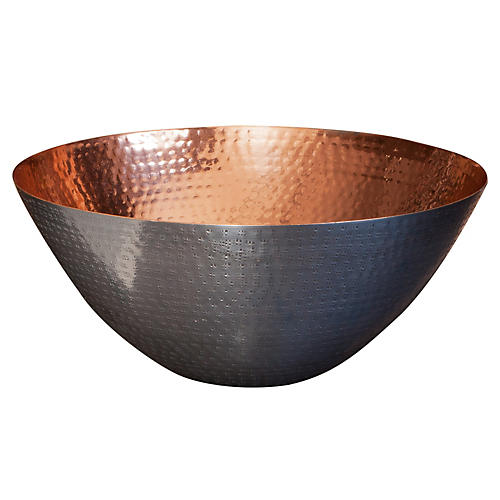 "12"" Dimpled Metal Bowl, Copper"