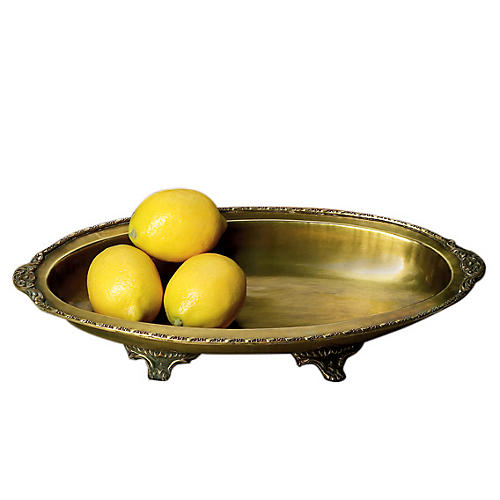 "17"" Oval Tray Centerpiece, Brass"