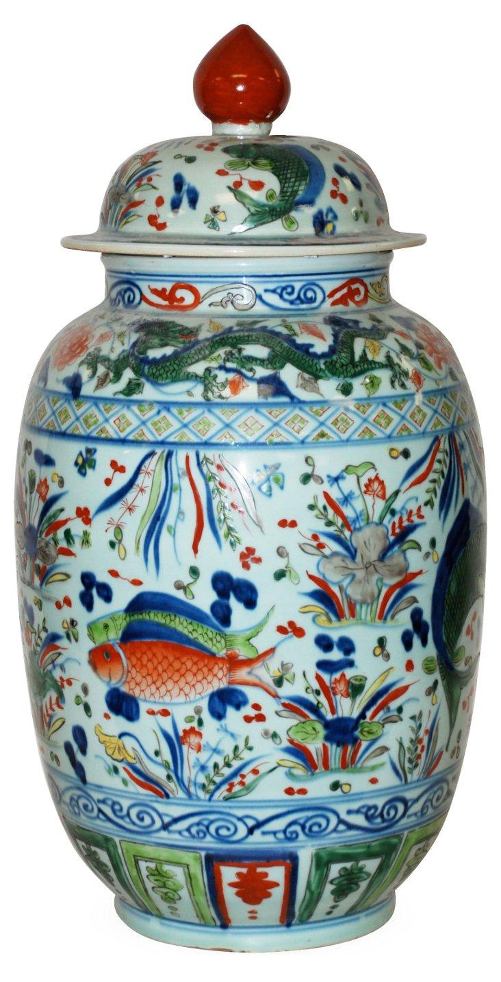 "24"" Porcelain Jar, Fish Scene"