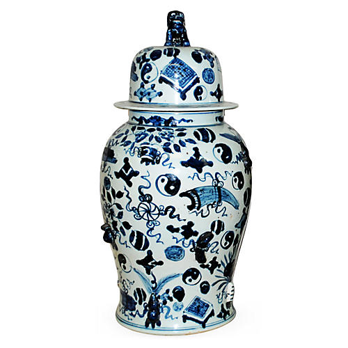 """25"""" Covered Temple Jar, Blue/White"""