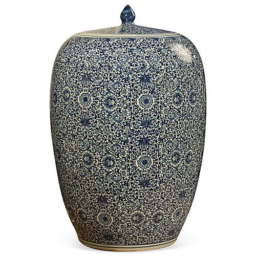 "21"" Porcelain Tea Jar, Blue/White"