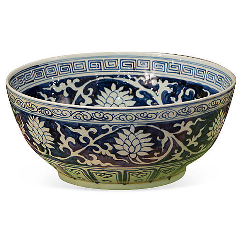 "16"" Lily Bowl, Blue/White"