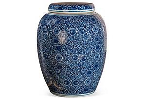 """18"""" Garden Seat Jar, Blue/White"""