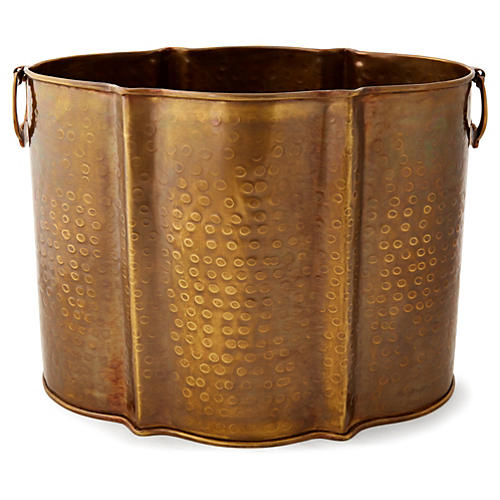 "15"" Hammered Brass Planter, Brass"