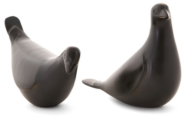 Pair of Quail Objets, Bronze