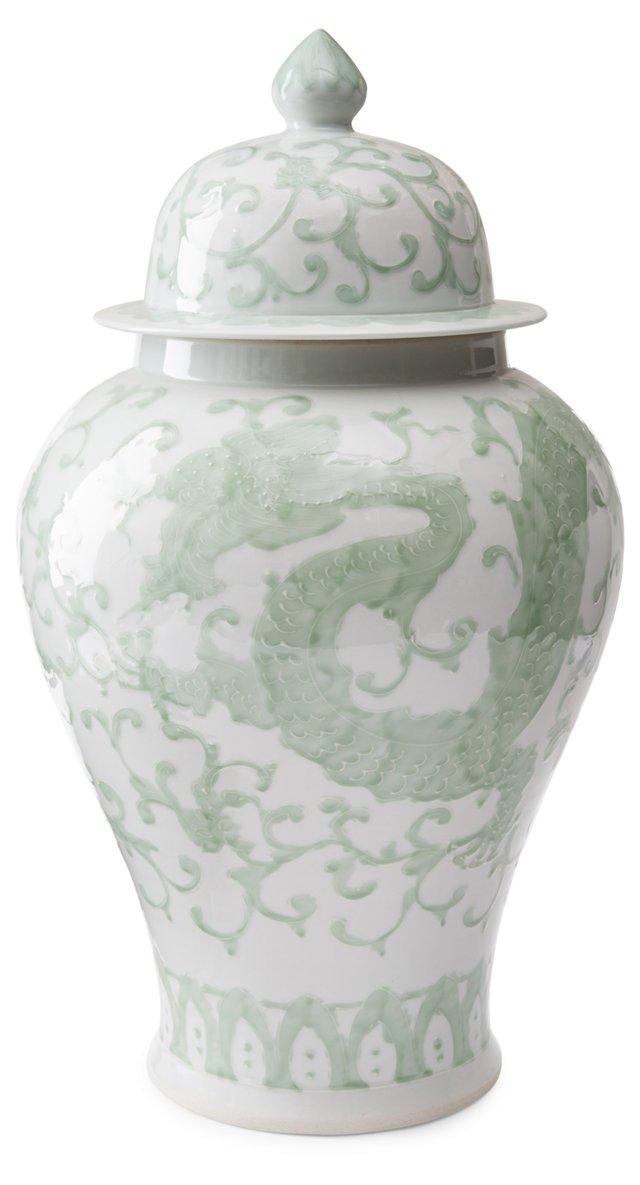 "22"" Porcelain Dragon Jar, Green"