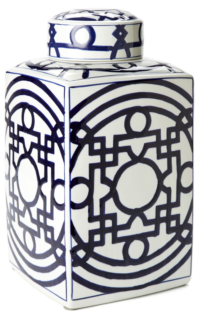"15"" Porcelain Square Jar, Blue/White"