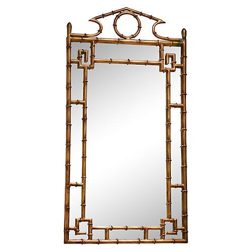 "Bamboo 42""x21"" Wall Mirror, Antiqued Gold"