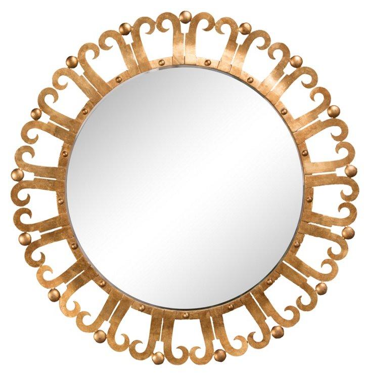 Curl Edge Mirror, Antiqued Gold