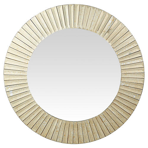 "Sunburst 30"" Wall Mirror, Antiqued Gold"