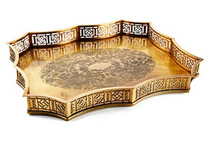"23"" Scalloped Gallery Tray, Gold"