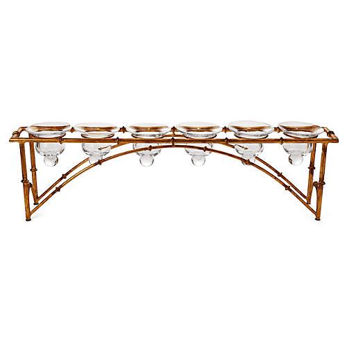 "24"" Bamboo 6-Votive Bridge, Gold"