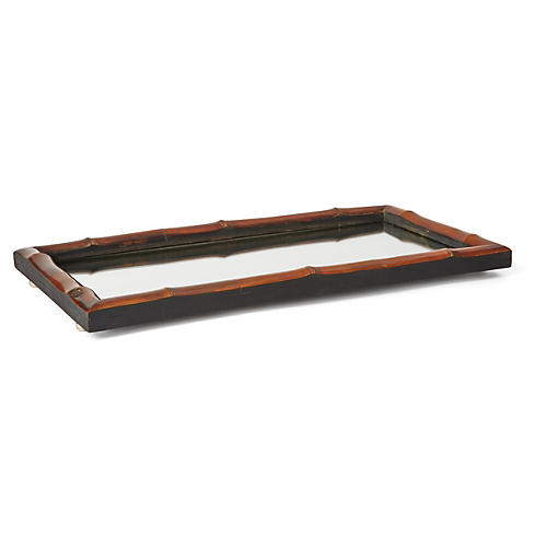 "18"" Bamboo Vanity Mirrored Tray"