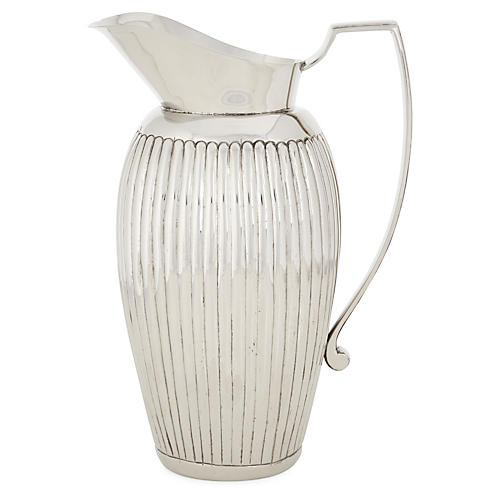 Nickel Ribbed Pitcher, Silver