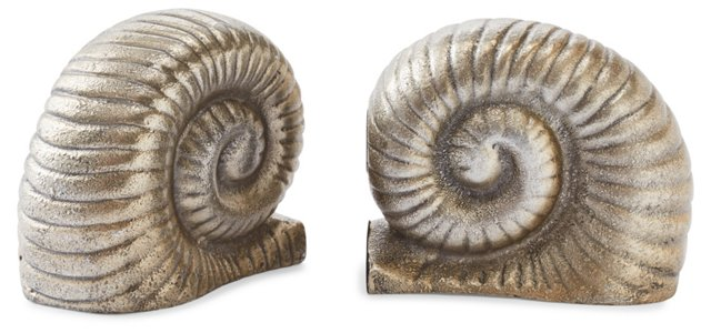Pair of Snail Bookends, Silver