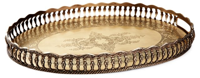 "21"" Antiqued Oval Gallery Tray, Brass"