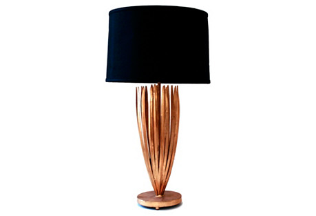 Reed Table Lamp, Antiqued Gold